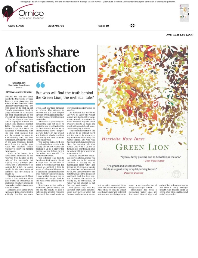 green lion cape times review jpg